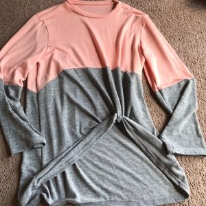Peachy pink and gray lightweight sweater top